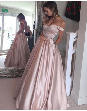 Off the Shoulder Satin Pink Long Ball Gown Formal Dress with Pockets BD2051
