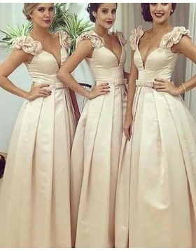 Deep V-neck Satin Ivory Pleated Ball Gown Bridesmaid Dress BD2052
