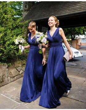 Simple V-neck Blue Ruched Long Bridesmaid Dress BD2053