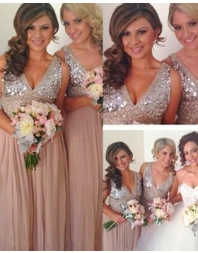 V-neck Beading Bodice Chiffon Tulle Blush Bridesmaid Dress BD2056
