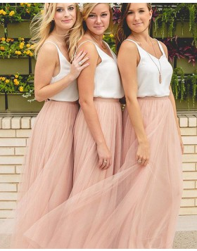 Elegant V-neck White and Pink Tulle Bridesmaid Dress BD2057