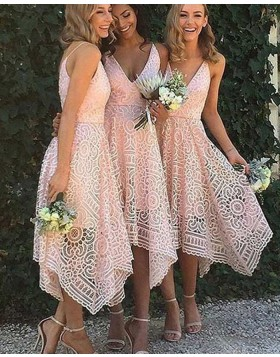 Elegant V-neck Pink Lace Asymmetric Tea Length Bridesmaid Dress BD2058