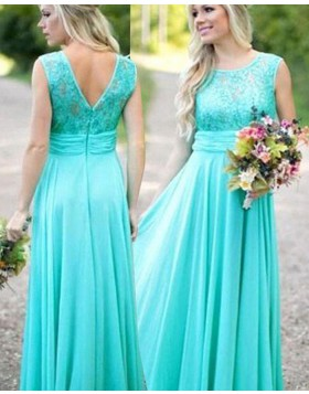 Jewel Lace Bodice Mint Chiffon Long Bridesmaid Dress BD2061
