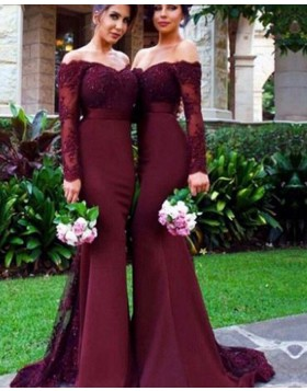 Off the Shoulder Burgundy Appliqued Mermaid Bridesmaid Dress BD2064