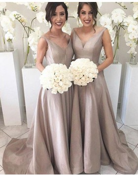 V-neck Simple Pleated Nude Floor Length Bridesmaid Dress BD2066