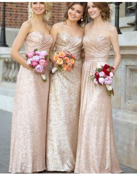 Sweetheart Sequined Ruched Gold Long Bridesmaid Dress BD2067