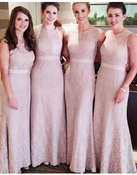 Jewel Lace Nude Lace Long Sheath Bridesmaid Dress with Belt BD2072