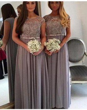 Jewel Lace Bodice Grey Pleated Chiffon Bridesmaid Dress BD2073