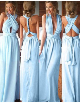 Variable Dusty Blue Chiffon Long Bridesmaid Dress BD2076