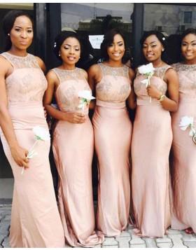 Sheer Beading Chiffon Jewel Blush Pink Mermaid Bridesmaid Dress BD2077
