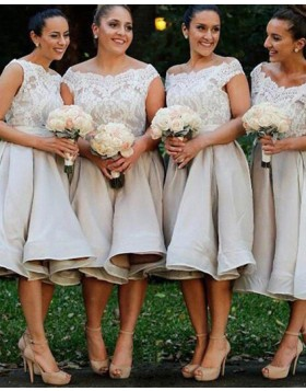 Off the Shoulder Lace Bodice Grey Satin Knee Length Bridesmaid Dress BD2080