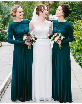 Jewel Dark Green Pleated Long Bridesmaid Dress with Long Sleeves BD2081