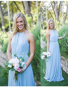 Halter Ruched Long Chiffon Blue Bridesmaid Dress BD2082