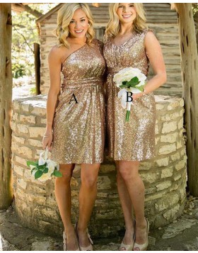 One Shoulder Gold Sequined Short Bridesmaid Dress BD2085
