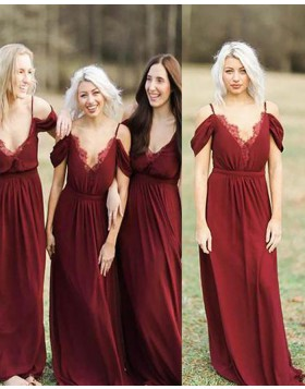 Cold Shoulder Red Pleated Long Bridesmaid Dress BD2086