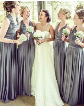 Convertible Grey Pleated Long Bridesmaid Dress BD2088