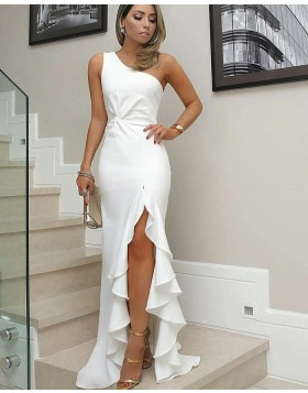 One Shoulder White Satin Mermaid Long Formal Dress with Pleated Slit BD2095