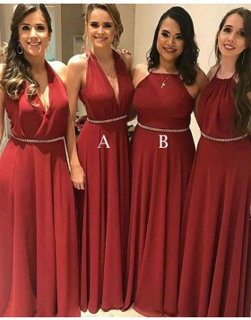 Halter Chiffon Red Pleated Long Bridesmaid Dress with Beading Belt BD2096