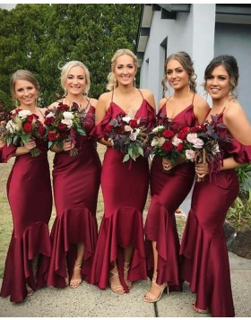 Halter Burgundy Long Mermaid Bridesmaid Dress BD2100