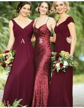 Spaghetti Straps Rose Gold Sequined Mermaid Long Bridesmaid Dress BD2101