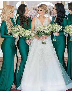 V-neck Green Satin Mermaid Long Sleeve Bridesmaid Dress with Slit BD2102
