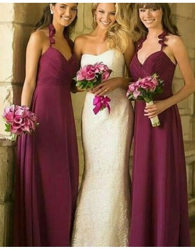 Halter Ruched Burgundy Long Bridesmaid Dress BD2103
