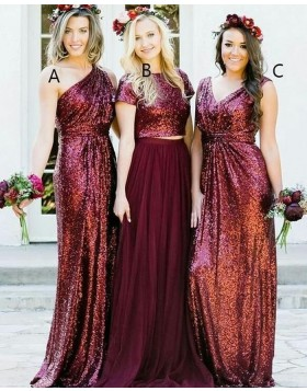 One Shoulder Rose Gold Sequined Sheath Long Bridesmaid Dress BD2106