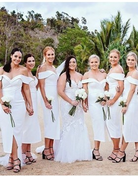 Tea Length White Satin Off the Shoulder Sheath Bridesmaid Dress with Side Slit BD2111