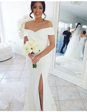 Simple Off the Shoulder White Mermaid Bridesmaid Dress with Side Slit BD2114