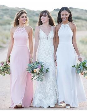Halter White Chiffon Sheath Simple Long Bridesmaid Dress BD2119