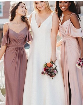 Cold Shoulder Ruched Bohemian Style Chiffon Bridesmaid Dress with Side Slit BD2120