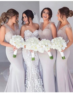 V-neck Grey Satin Mermaid Simple Bridesmaid Dress BD2121