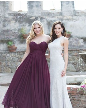 Sweetheart Ruched Chiffon Simple Burgundy Bridesmaid Dress BD2122