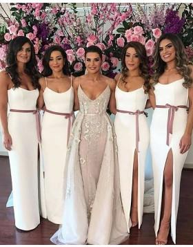 Square White Sheath Elastic Satin Bridesmaid Dress with Side Slit BD2123