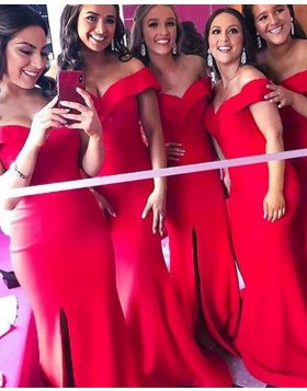 Off the Shoulder Red Mermaid Satin Bridesmaid Dress with Side Slit BD2126