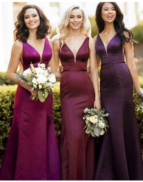 V-neck Burgundy Satin Mermaid Bridesmaid Dress BD2127