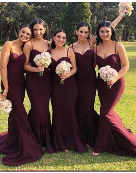 Square Burgundy Satin Mermaid Bridesmaid Dress BD2128