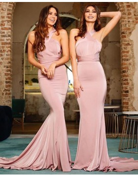 Simple Convertible Nude Satin Mermaid Bridesmaid Dress BD2129