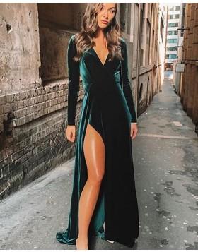 V-neck Velvet Dark Green Bridesmaid Dress with Long Sleeves BD2132