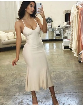 Spaghetti Straps Ivory Tea Length Bodycon Formal Dress BD2139