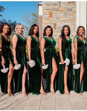 V-neck Green Velvet Sheath Bridesmaid Dress with Side Slit BD2140