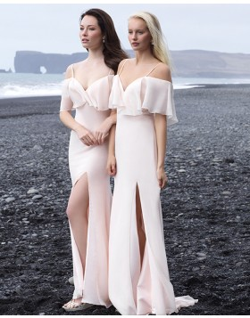 Cold Shoulder Light Pink Bohemian Mermaid Chiffon Bridesmaid Dress with Side Slit BD2142