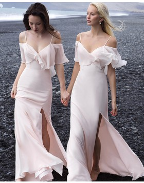 Cold Shoulder Light Pink Bohemian Mermaid Chiffon Bridesmaid Dress with Side Slit BD2142