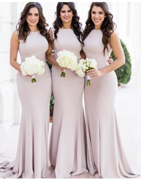 Simple Jewel Nude Satin Mermaid Bridesmaid Dress BD2144