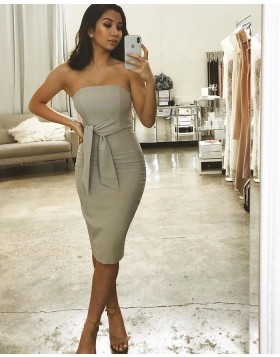 Strapless Grey Bodycon Short Bridesmaid Dress with Sash BD2145