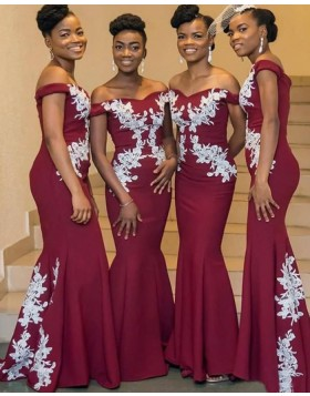 Off the Shoulder Appliqued Burgundy Mermaid Satin Bridesmaid Dress w