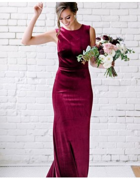 Jewel Neck Burgundy Mermaid Velvet Bridesmaid Dress