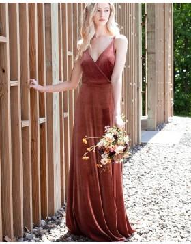 Simple A-line Spaghetti Straps Velvet Bridesmaid Dress