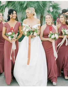 Simple A-line V-neck Satin Bridesmaid Dress with Middle Slit