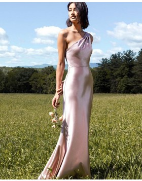 One Shoulder Light Pink Velvet Mermaid Bridesmaid Dress